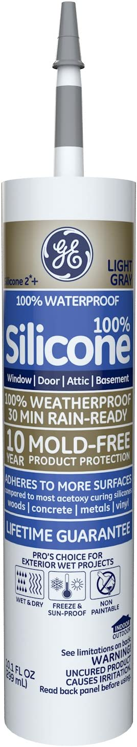 GE GE50.08 Silicone 2+ Window & Door Sealant Caulk, 10.1oz, Light Grey