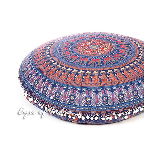 Eyes of India - 32'' Blue Floor Pillow Cushion Seating Throw Cover Mandala Hippie Round Colorful Decorative Bohemian boho dog bed IndianCover Only by Eyes of India (Image #2)