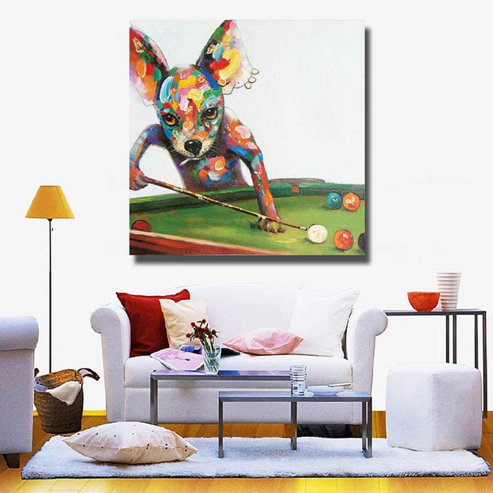 Dibujado a Mano Acrilica Pintura al óleo Moderno Decoración de Pared Hogar Cuadro Lienzo Perro Jugando Billar,WithFrame,50x50cm: Amazon.es: Hogar
