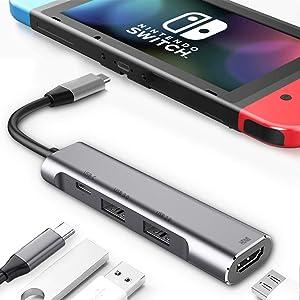 RREAKA USB Type C to HDMI Digital AV Multiport Hub, USB-C (USB3.1) Adapter PD Charger for Nintendo Switch,Portable 4K HDMI Dock for Samsung Dex Station S10/9/8/Tab S6/S5 Travel TV Docking Station