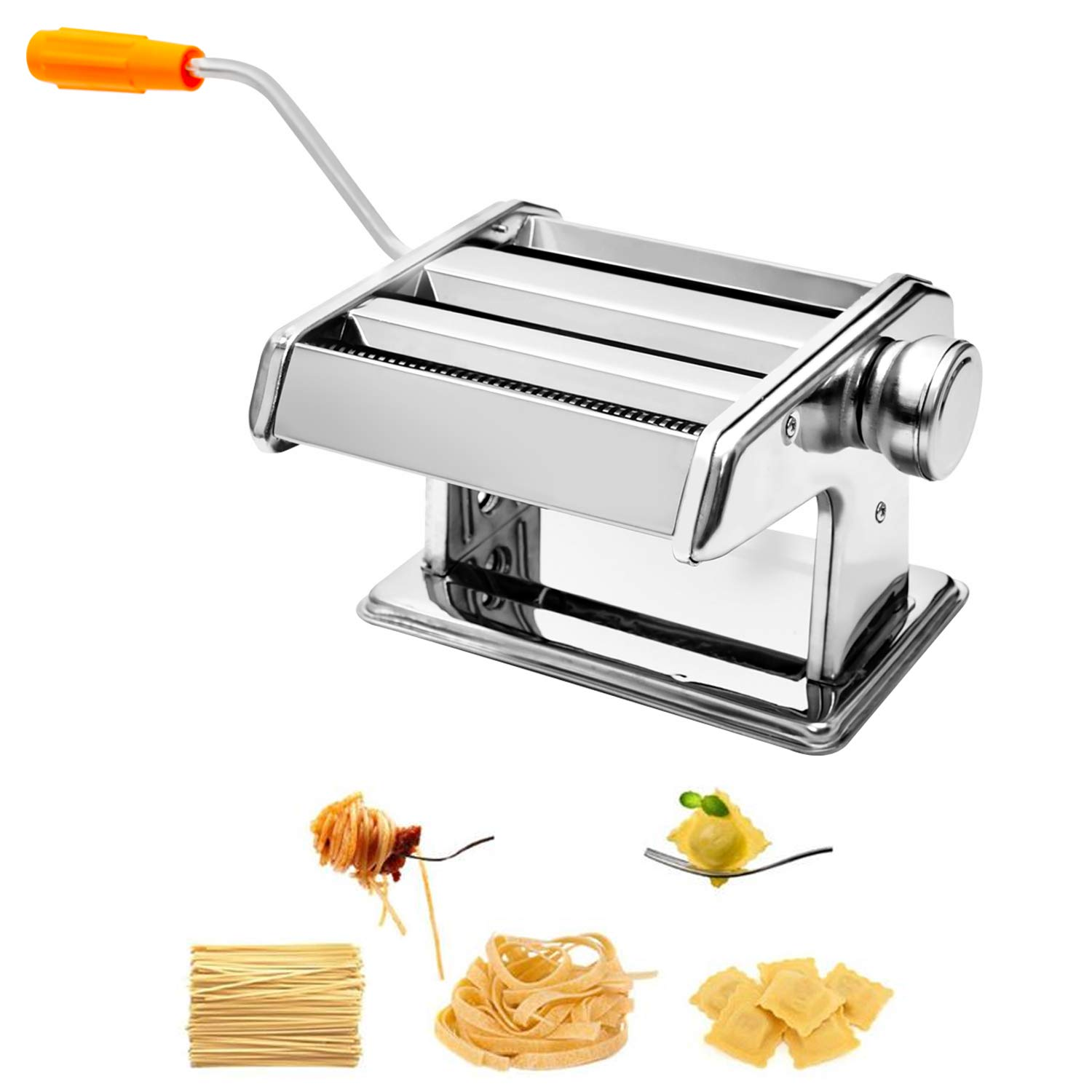 Pasta Maker, Roller Stainless Steel Pasta Noodle Maker Machine - 6 Adjustable Thickness Settings by Little World