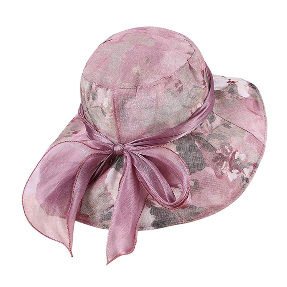 KSDJSA Women Cotton Sun Hat Wide Brim Edge Sunproof Anti-UV Foldable Beach Hat L