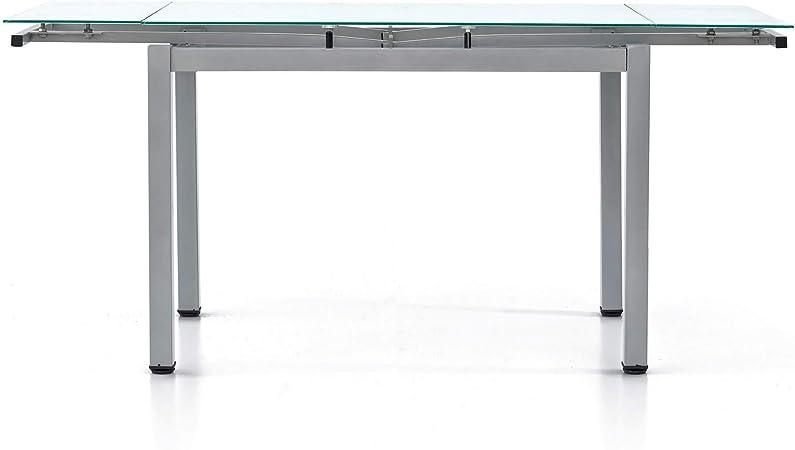Con Struttura In Metallo Grigio Satinato 110 X 70 X 75 Stile Moderno Tavolo Con Piano In Vetro E 2 Allunghe Da 35 Cm Mis