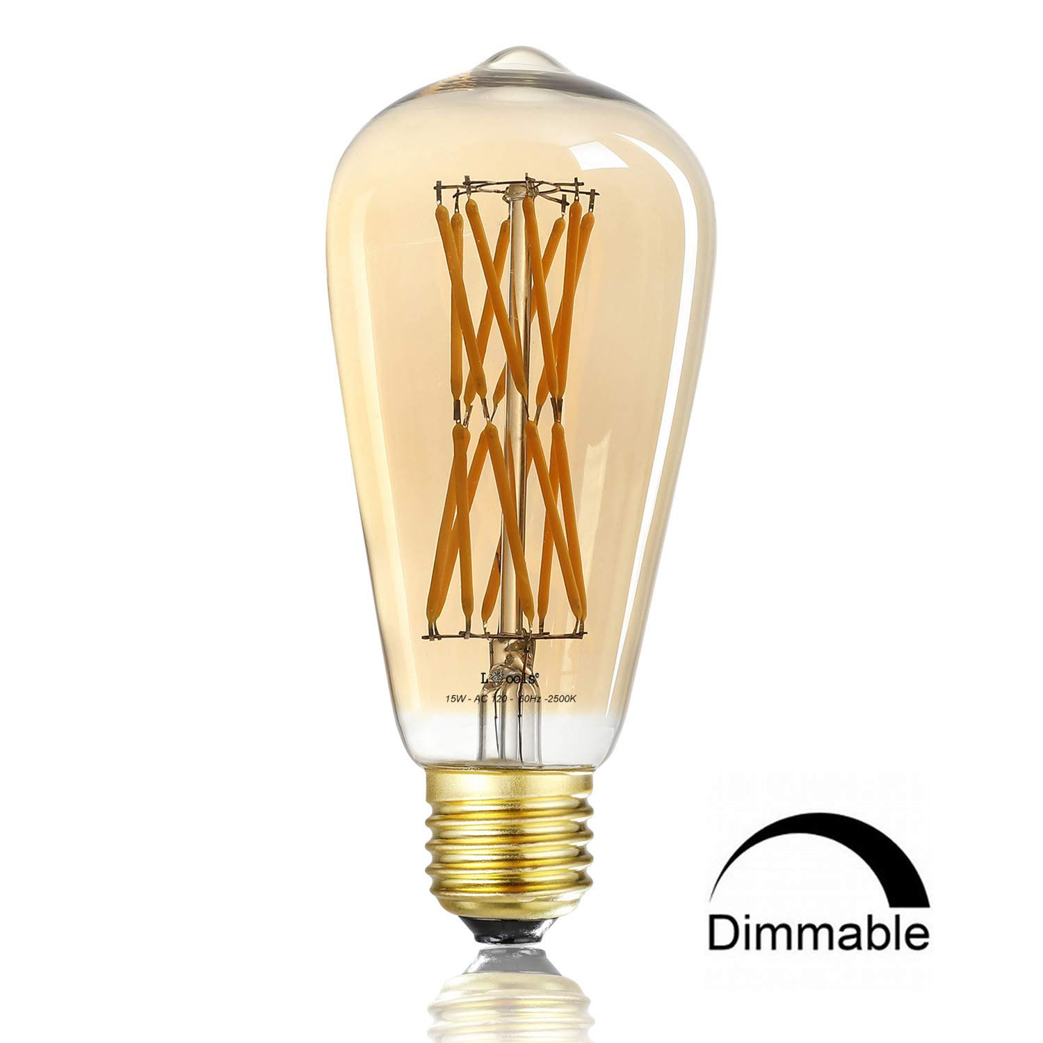 Leools 15W Edison Style Vintage LED Filament Light Bulb,ST64(ST21) Led Retro Bulb,100 Watt Equivalent Light Bulbs,Amber Warm 2500K, (Amber Gold Glass), Squarrel Cage Filament Vintage Light Bulb,ST64,