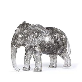 1pc 3D Crystal puzzle puzzle DIY elefante modello blocchi fai da te Gadget Blocks Building ufficio giocattolo regalo per bambini bambini (grigio) Ouken