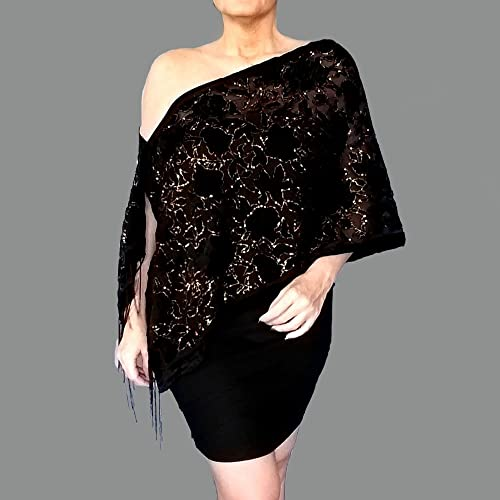 e17f2baf4f1 Amazon.com  Black Velvet Shawl Glittery Gold Holiday Wrap Stole By ZiiCi   Handmade