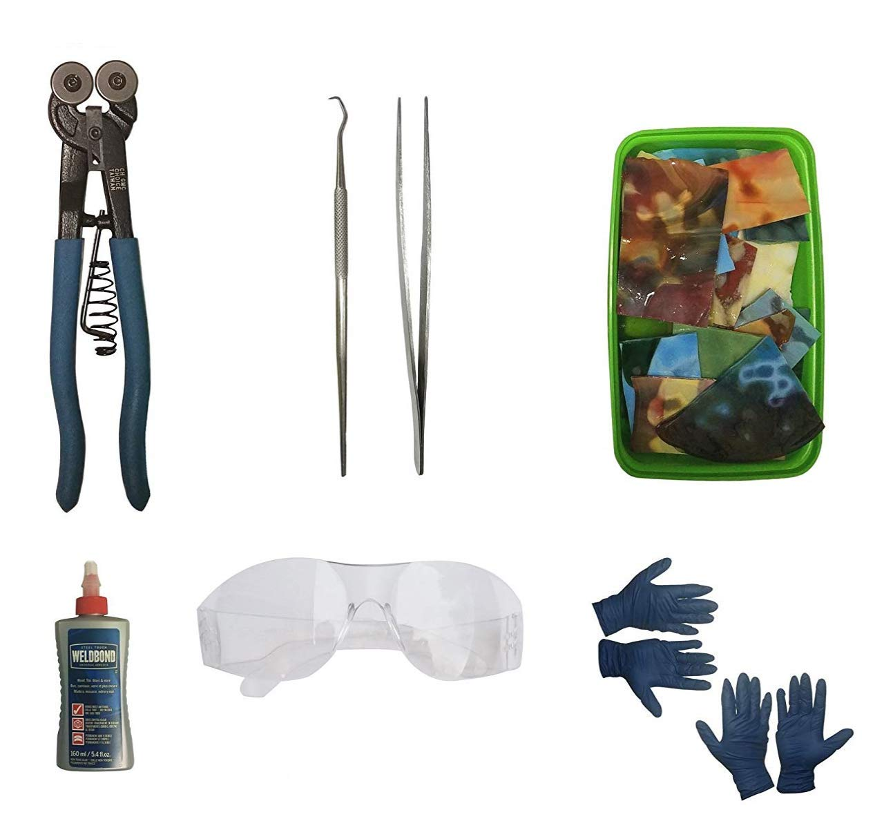 Premium Mosaic Tiles Starter Kit. Includes 3 LBS of our BEAUTIFUL scrap glass, Carbide Dual Wheel Mosaic Cutter, Weldbond, Safety Glasses and Mosaic Tools. Perfect starter kit for Glass Mosaic