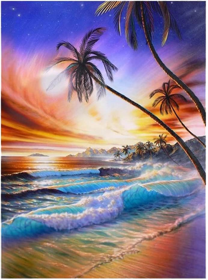 Shiny DIY Craft CqmzpdiC Home Decor Beach Landscape DIY 5D Full Diamond Painting Beach Landscape Embroidery Cross Stitch Handicraft