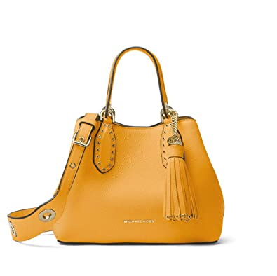 e699e71ce361 Amazon.com  Michael Kors Brooklyn Small Leather Grab Bag Satchel in  Marigold  Shoes