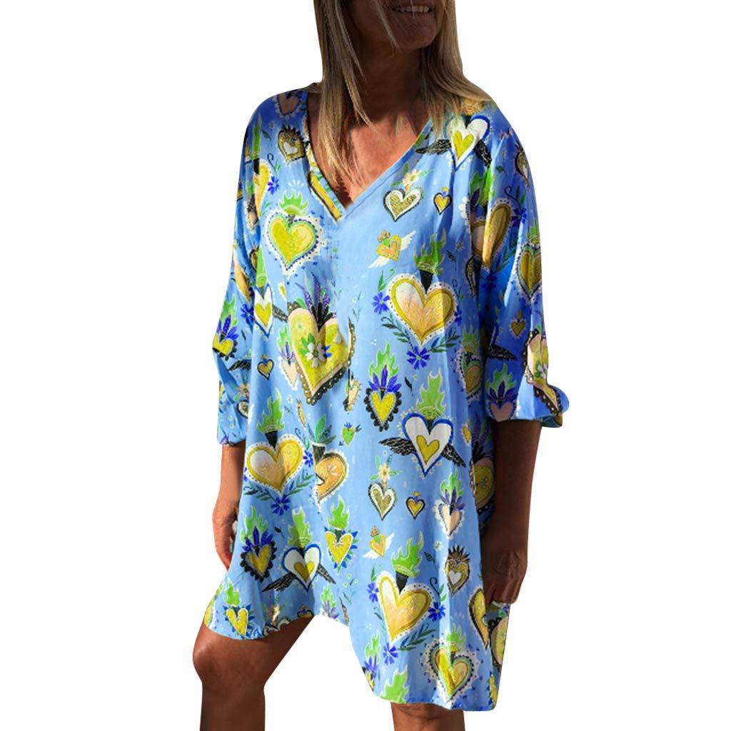 Cinnamou Mode Femmes Boho Dress Imprimés à Pois Imprimé col en V Taille Lace Up Robe sans Manches