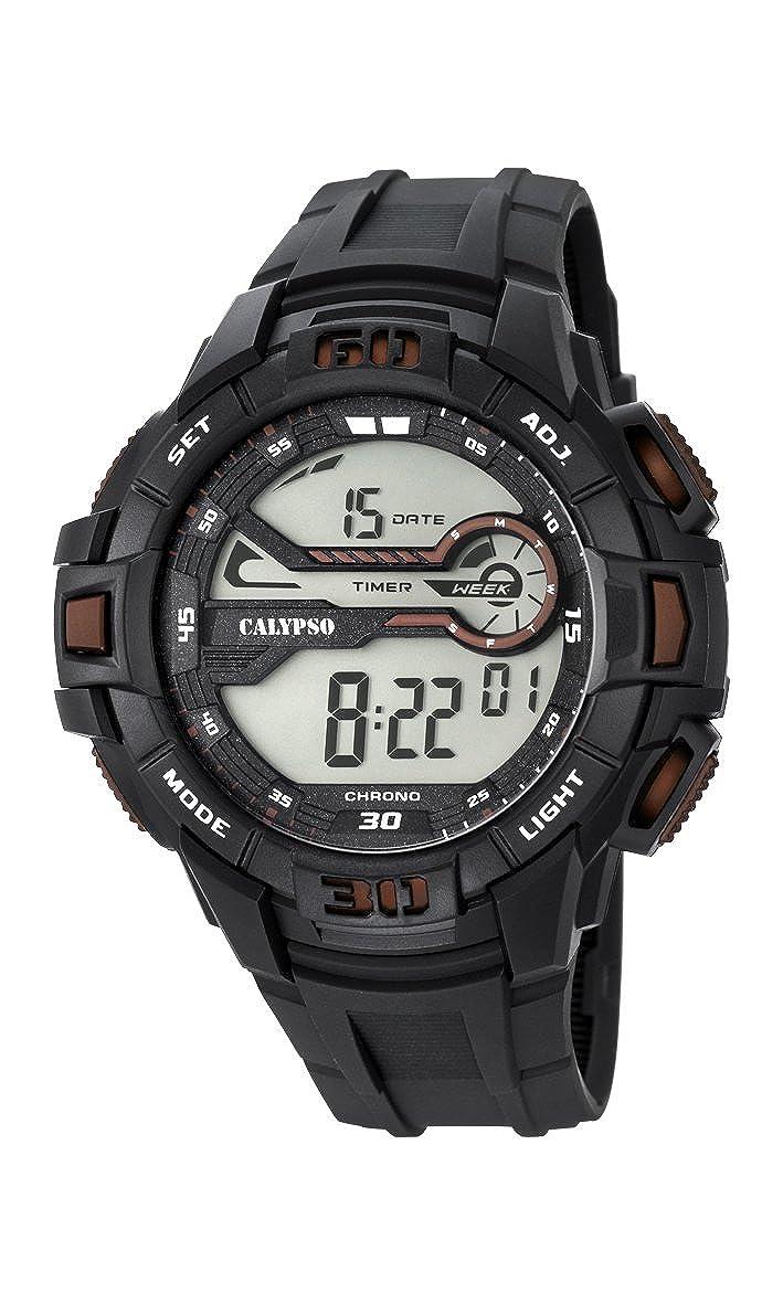 Calypso Hombre Reloj Digital con Pantalla LCD Pantalla Digital Dial y Correa de plástico en Color Negro k5695/8