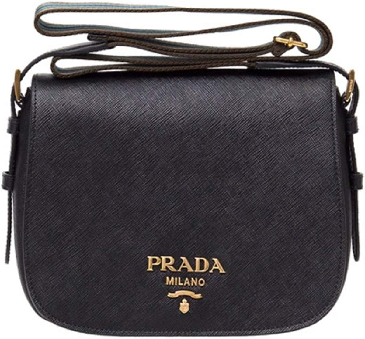Prada Women Saffiano Leather Web Strap Cross Body Shoulder Bag Black 1BD192