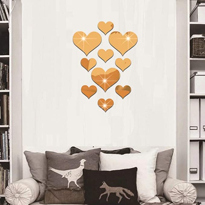 YWLINK 10pcs Love Heart Acrylic 3D Mirror Etiqueta De La Pared ...