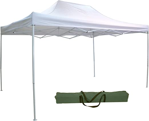 Cenador plegable telescópico 3 x 4, 5 m, tela de color blanco para acampadas o jardines: Amazon.es: Jardín