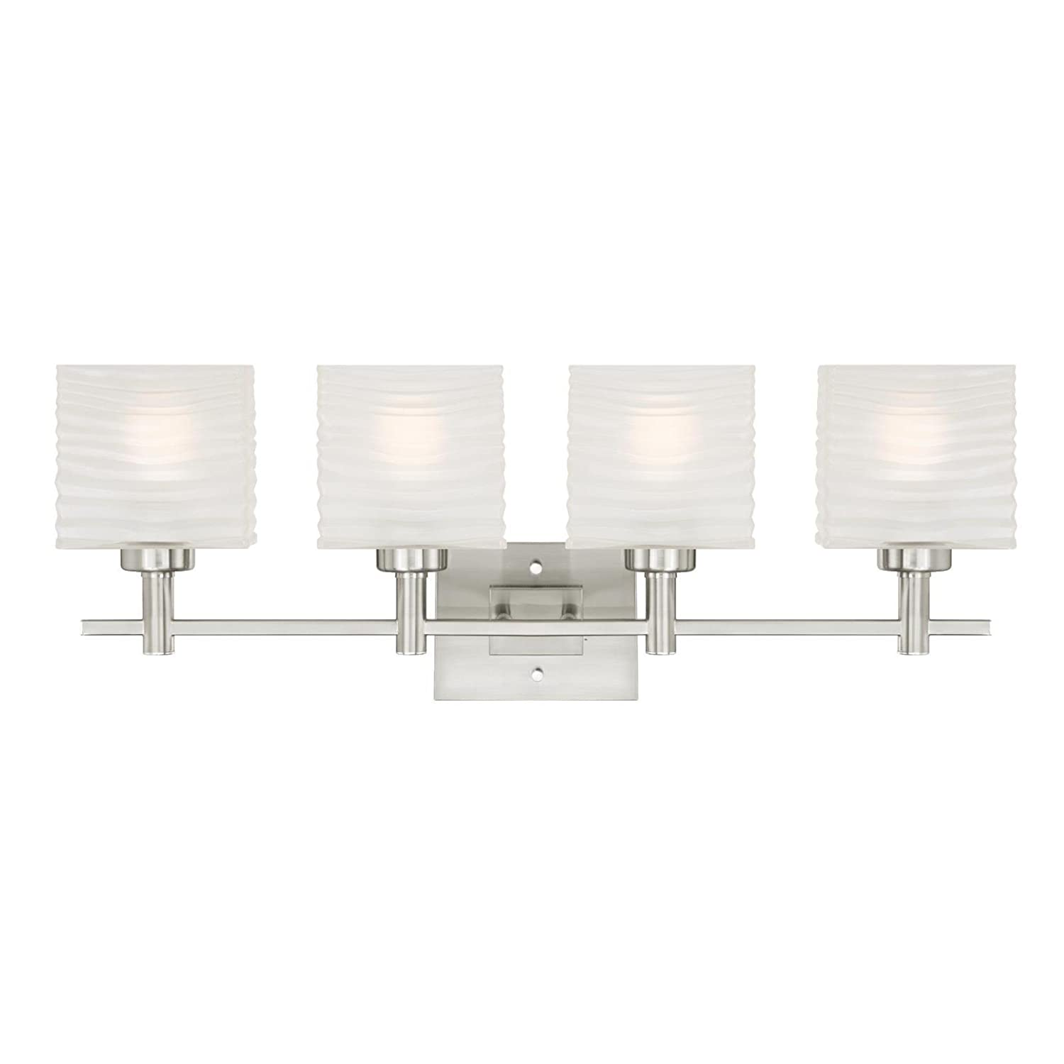 6304100 Alexander Four-Light Indoor Wall Fixture, Brushed Nickel Finish with Rippled White Glazed Glass