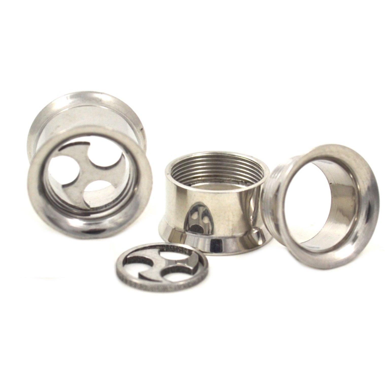 Pair (2) Steel Detachable Shuriken Ear Plugs Screw Fit Tunnels Hollow Gauges- 1/2'' 12MM