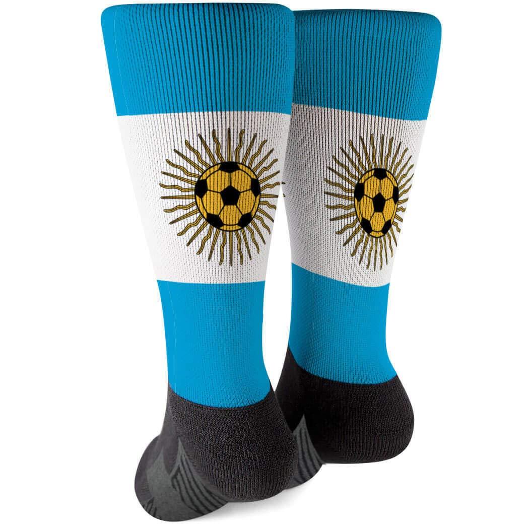 Soccer Socks by ChalkTalkSPORTS Multiple Sizes Argentina Printed Mid Calf Socks