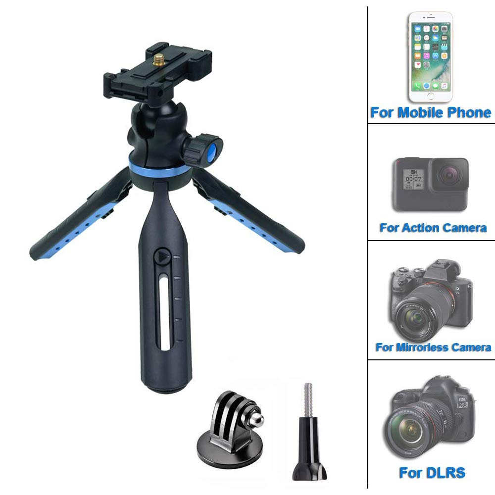 TEKCAM Camera Tripod Tabletop Phone Tripod Stand Travel Mini Tripod Mount Ajustable Cell Phone Clip Holder Compatible with Gopro Hero 7 6 DJI Osmo Action AKASO Victure DSLR Camera iPhone by TEKCAM