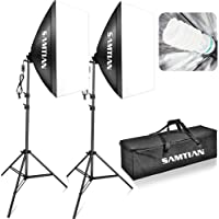 """SAMTIAN Softbox Kit 5500K illuminazione Continua Studio Luci Studio Fotografico 20""""x28""""/50x70cm con Lampadina 85W E27 e Treppiedi 2M"""