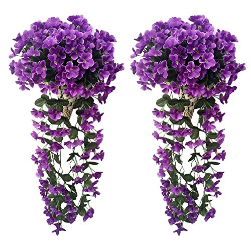 Evoio Artificial Violet Ivy Flowers, 2PCS DIY Hanging Basket Garland Wedding Wall Ratta Silk String Floral Decoration (Dark Purple)