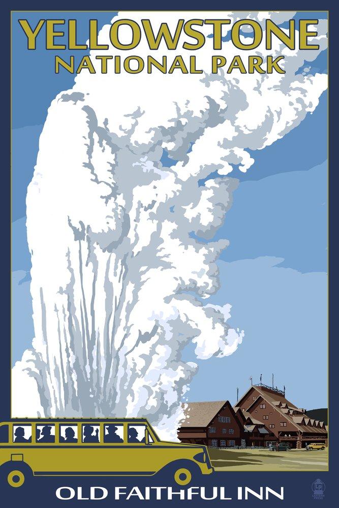 Old Faithful Lodge andバス – イエローストーン国立公園 10 x 15 Wood Sign LANT-31750-10x15W B0736843V2 10 x 15 Wood Sign10 x 15 Wood Sign