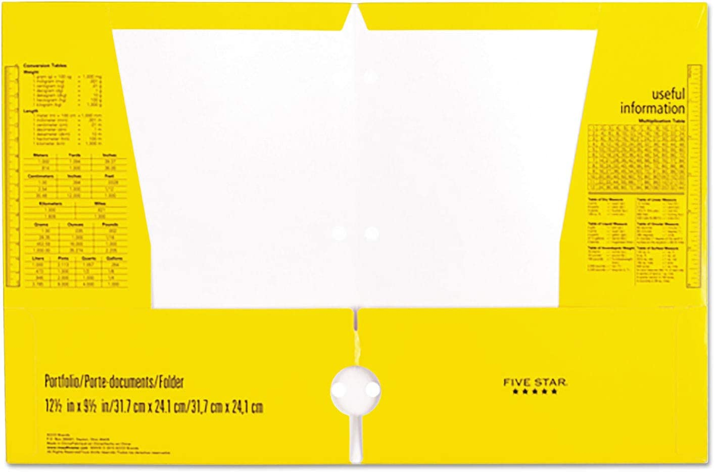 Five Star 4 Pocket Folders, 2 Pocket Folders plus 2 additional Pockets, Assorted Colors, 6 Pack (38056) : Office Products