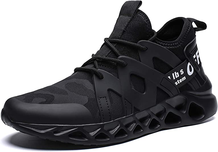 Pozvnn Men's Sneakers Mesh Ultra Lightweight Breathable Athletic Running Walking Gym Shoes Fashion Personality Shoe Outdoor Sport All/Black44, 9.5