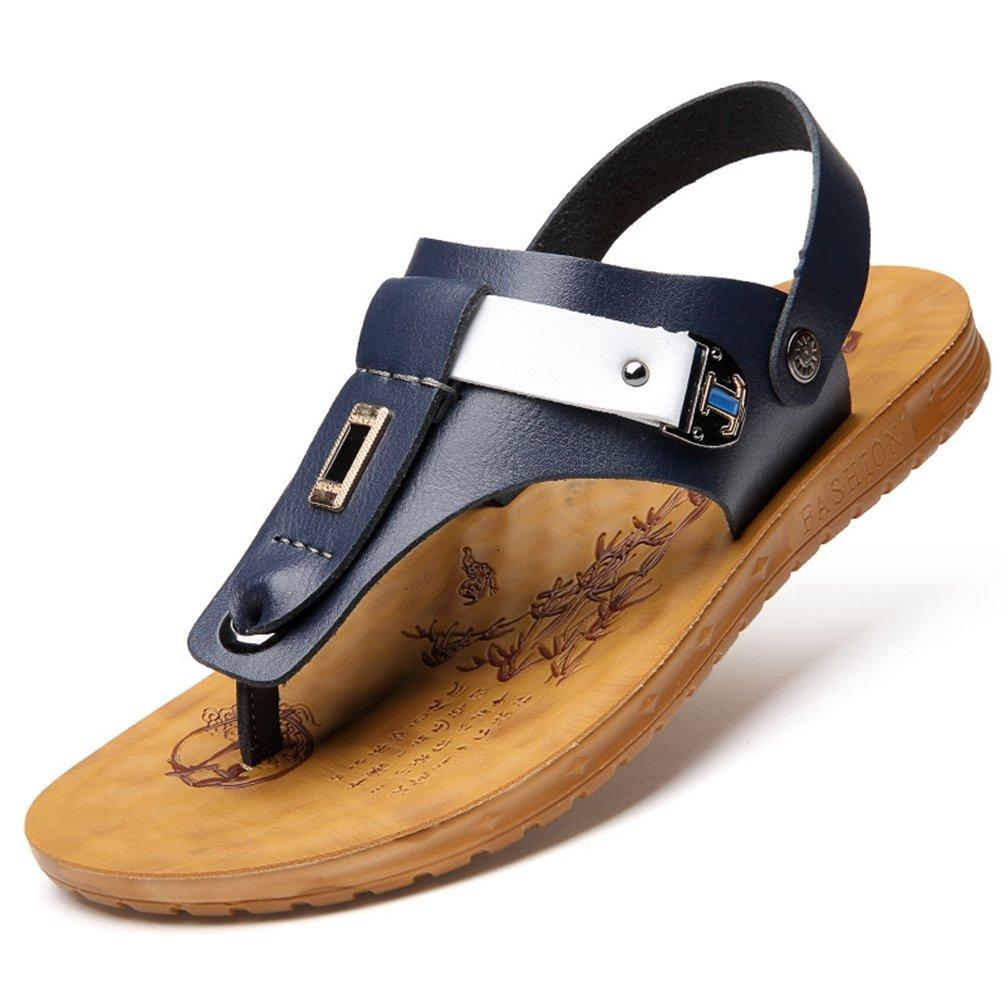 Herren Rund Toe Baotou Sandalen Leichte Bequeme Sommer Atmungsaktive Klettverschluss Schnalle Sandaletten Weiß,Blau 41 EU