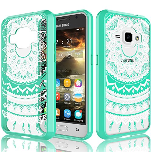Galaxy Luna/Amp 2/Express 3 Case For Girls, J1 2016 Case, Tekcoo [TFlower] Transparent [Turquoise] Cute Lovely Adorable Ultra Thin Clear Hard TPU Skin Scratch-Proof Bumper Cases For Samsung J120 (Samsung Galaxy 2 Case For Girls)