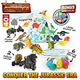 Dinosaur Playset 40 Piece Dino Toys and Accessories Jurassic World Playkit for Kids. Pull Back & Friction Cars. Party Favor Grab Bag Toys Dinosaur Figurines and Growing Dinosaur Hatching Eggs