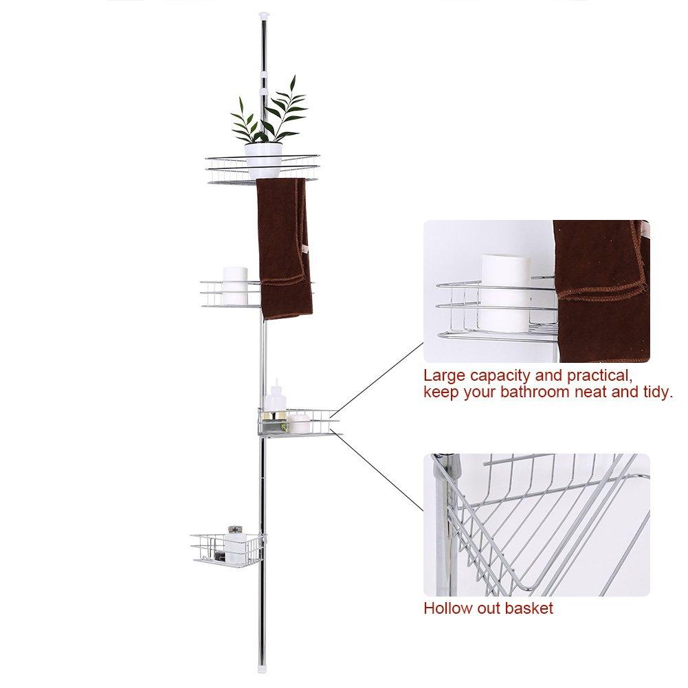 altura regulable 233~243 cm Ejoyous Estanter/ía telesc/ópica para ducha estanter/ía de ducha de esquina con 4 estantes estanter/ía de metal ajustable montaje sin agujeros estanter/ía de ducha de metal