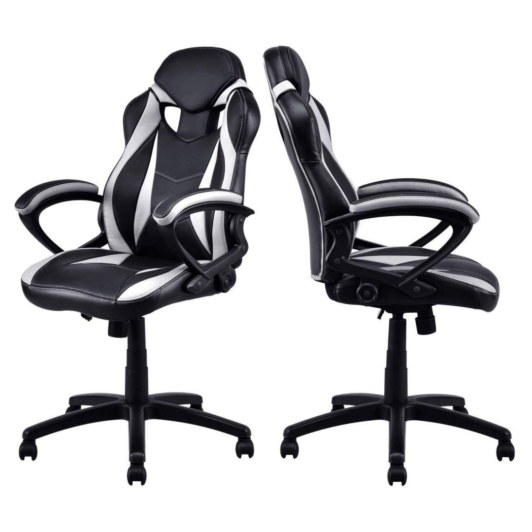 Modern Style High Back Gaming Chairs 360-Degree Swivel Design Desk Task PU Leather Upholstery Thick Padded Seat Posture Support Home Office Furniture - Set of 4 White/Black #2123 by KLS14