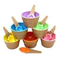Ice Cream Bowls, SHOBDW 1PC Kids lovely ice cream bowls ice cream cup Couples bowl gifts Dessert (All Colors(6 pcs))