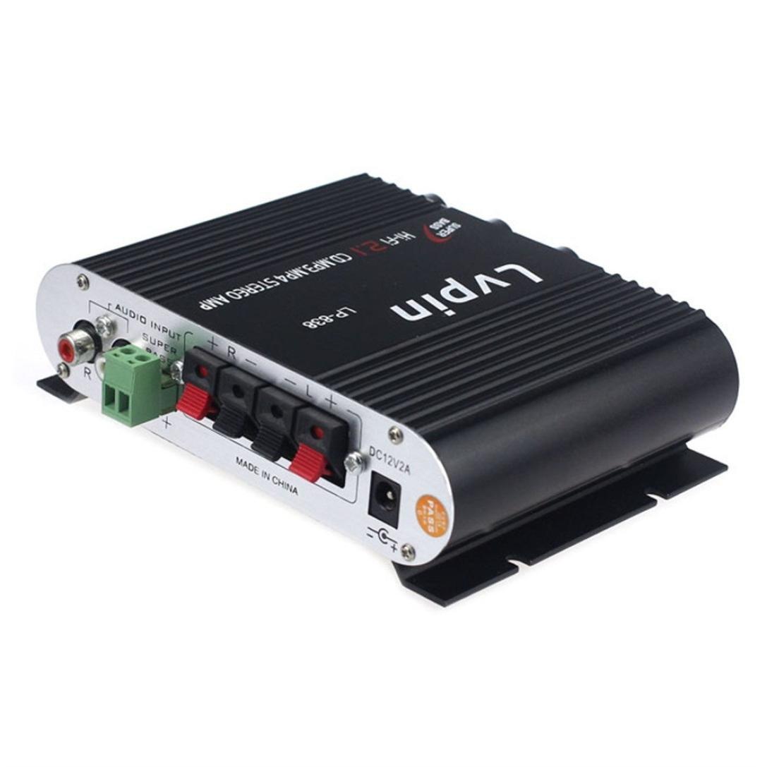 jintime voiture amplificateur audio Lvpin Lp-838Voiture amplificateur audio 2.1canaux ordinateur Home Petite amplificateur de puissance silver Plastic