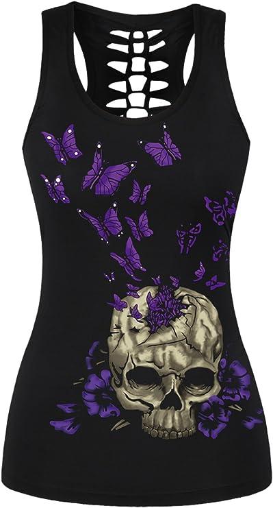 Camiseta Rockera Negra Calavera Camiseta Motera Mujer