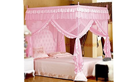 Pink Princess 4 Corners Post Bed Curtain Canopy Mosquito Netting Twin