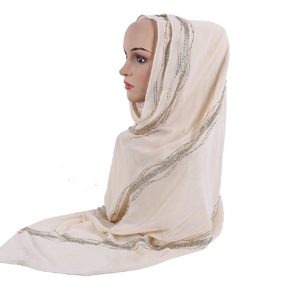 Gold Stamping Rhinestones Decoration Pearl Chiffon Women Shawl Islamic Muslim Hijab Color 8