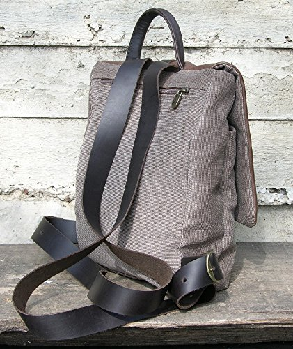 Backpack Rucksack Canvas Backpack with Leather, day pack, cabin bag