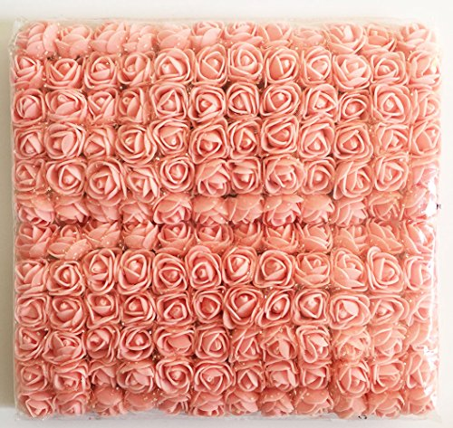 Artfen Mini Fake Rose Flower Heads 144pcs Mini Artificial Roses DIY Wedding Flowers Accessories Make Bridal Hair Clips Headbands Dress (bottom add gauze) Champagne-Pink