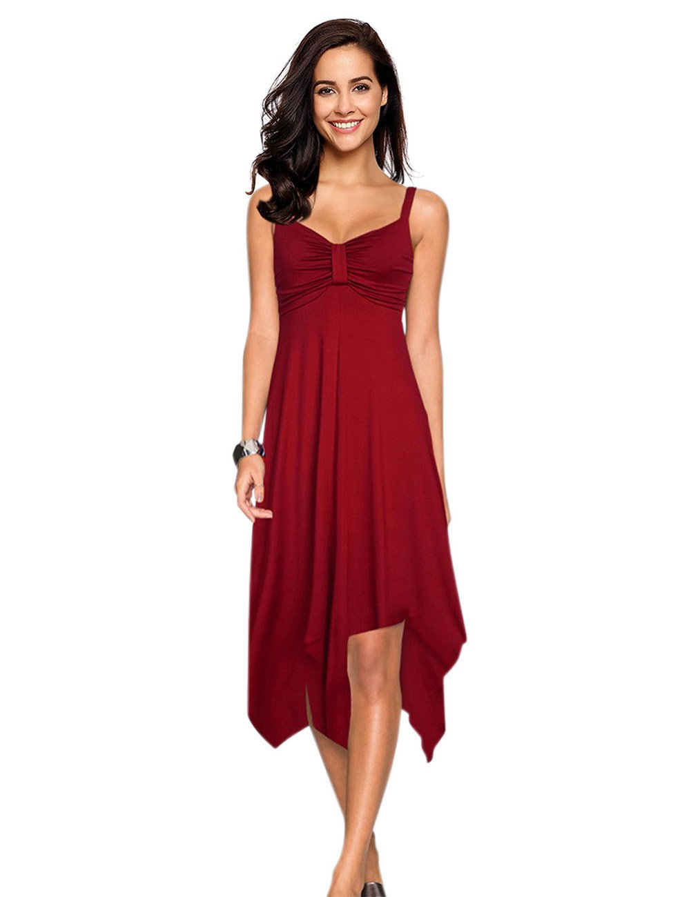 Leadingstar Women Spaghetti Strap Irregular Hem Summer Casual Beach Flared Dress Sundress-Burgundy S by Leadingstar (Image #1)