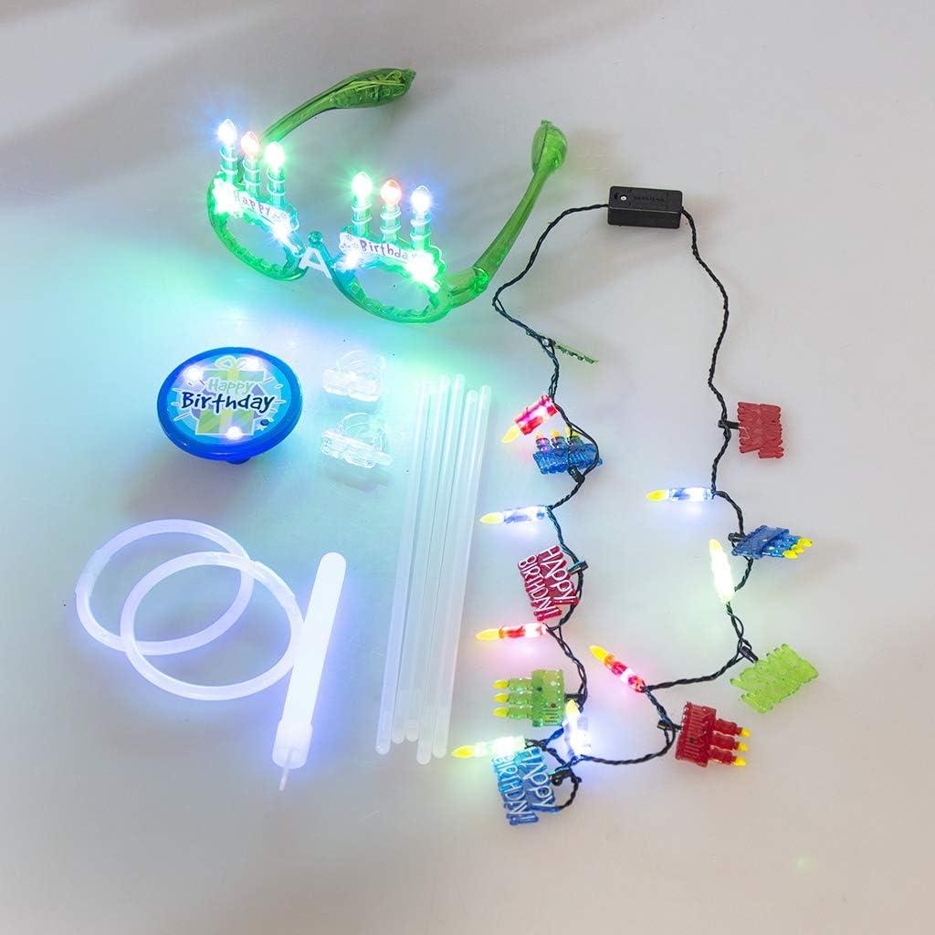 EAMBRITE Boy Birthday Set LED Eyeglasses LED Necklace LED Badge Light Stick Combo Perfect for Girls Birthday Party Decorations