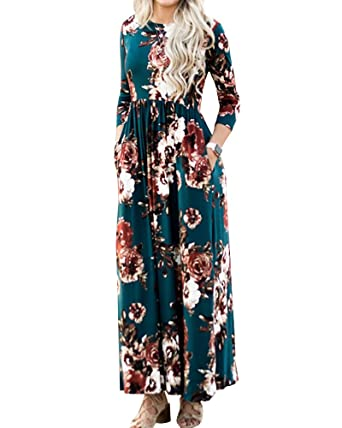 18215d912eebe Foshow Womens Floral Maxi Dress 3/4 Sleeve Empire Waist Floor Length Boho  Pleated Casual