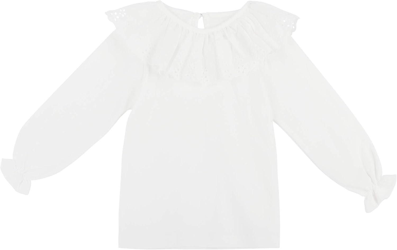 Liso Blanco Talla 03//06//09//12//18//24M Beb/é Ni/ña Ni/ño 100/% Algod/ón Blanco Camisetas de Manga Larga con Volantes en Cuello Cierre de Bot/ón Suave Lindo