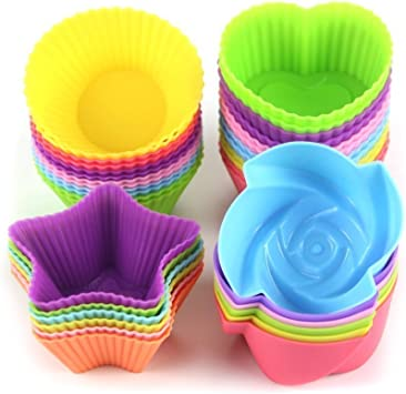 MINGZE Forros de silicona para cupcakes de 24 piezas, moldes para ...