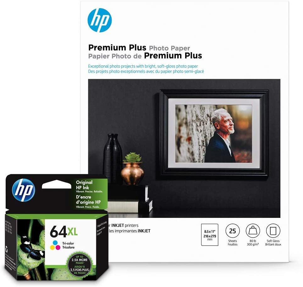 HP 64XL Tri-Color Inks + HP Premium Plus Photo Paper, Satin, 25 Sheets, 8.5x11