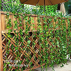 YOUR GIFT Artificial Ivy Green Leaves Vine Fake Ivy Wreaths Wedding Arch/Floral/Indoor Outdoor/Front Porch/Imitation of Green Plants 12 Strands 84 ft 3