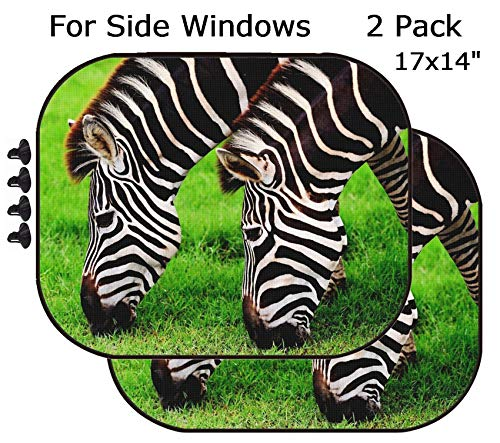 MSD Car Sun Shade - Side Window Sunshade Universal Fit 2 Pack - Block Sun Glare, UV and Heat for Baby and Pet - Two Zebras Eating Grass Image 37188709 Customized Tablemats Stain Resistance