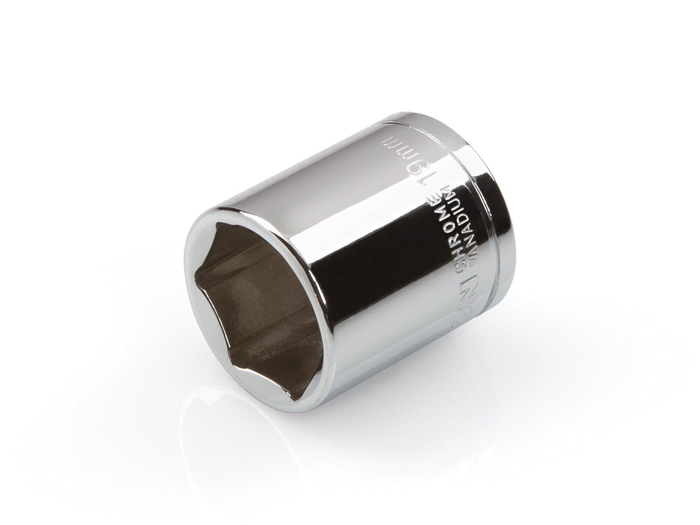 Cr-V 6-Point TEKTON 14152 3//8-Inch Drive by 19 mm Shallow Socket