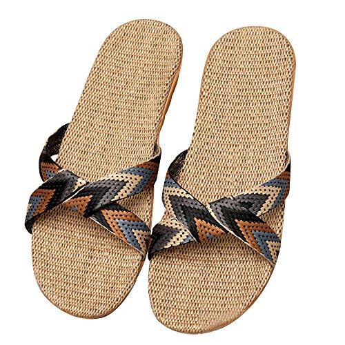Sandali Piscina Casuali 5 Spiaggia Piatte Lino Doccia Antiscivolo Tipo Ciabatte Aperta Punta Scarpe Da Pantofole Eizur xwPYORqZ