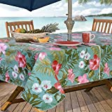 Everyday Luxuries by Newbridge Island Bloom Flannel Backed Indoor Outdoor Vinyl Table Linens, 70-Inch Round with Umbrella Hole and Zipper Tablecloth